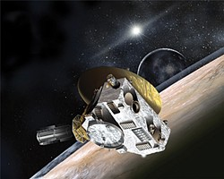 Artist's concept of NASA's New Horizons spacecraft flying by Pluto and Charon this July. The large dish antenna communicates with Earth, nearly 5 billion miles away. (Johns Hopkins University, public domain)