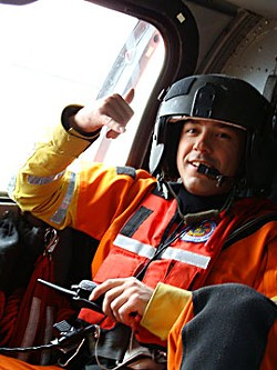 AST3 James Moore, Coast Guard rescue swimmer, photo by Jennifer Savage