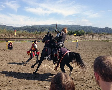 Back in black — the Black Knight charges his foe, already knocked from his steed. - JENNIFER FUMIKO CAHILL