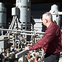 Barry Van Sickle, superintendent of the Humboldt Bay Municipal Water District, and his crew in May turned off pumps, at Pumping Station No. 6, at Essex that had drawn water from the Mad River to deliver to the pulp mill.  Photo by Heidi Walters