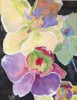 Beth Gin's watercolor orchids are blooming at Blake's Books.