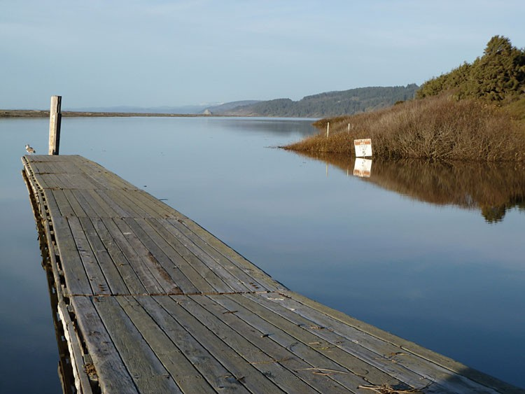 Big Lagoon on a perfect day for paddling, looking north from the boat ramp toward the sand spit. - PHOTO BY SIMONA CARINI