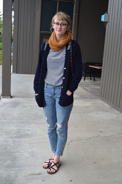 """Billie, a senior art student from Salinas, says Humboldt's weather is """"amazing."""" She's ready for it in a Paris-meets-redwoods, thrifted, handmade scarf, sandals and jeans from a free pile. - PHOTO BY SHARON RUCHTE"""