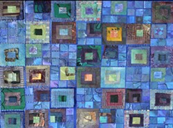 Blue Combination Tiles by Kathryn Stotler at Plaza Design.