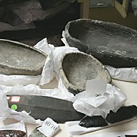 Grave Matters Bowls found at Yurok village site at Big Lagoon, ready for de-accessioning from the Clarke Historical Museum. Burnt portions indicate that they were buried in graves. Photo by Bob Doran