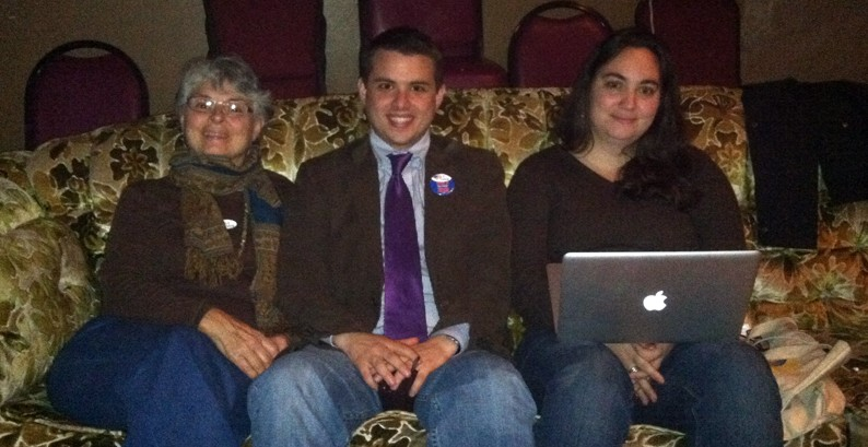 Brinton, center, with his mother, Susan Brinton (left), and Kaitlin Sopoci-Belknap on the night of his 2012 re-election. - FILE PHOTO