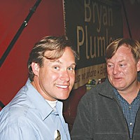 Election Results Bryan Plumley and Arcata Mayor Mark Wheetley at Humboldt Brews. Photo by Bob Doran