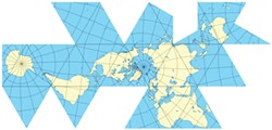 "IMAGE: ERIC GABA, WIKIPEDIA COMMONS - Buckminster Fuller's Dymaxion world map, which can be folded to make a regular 20-sided icosahedron (one of the five ""Platonic solids"")."
