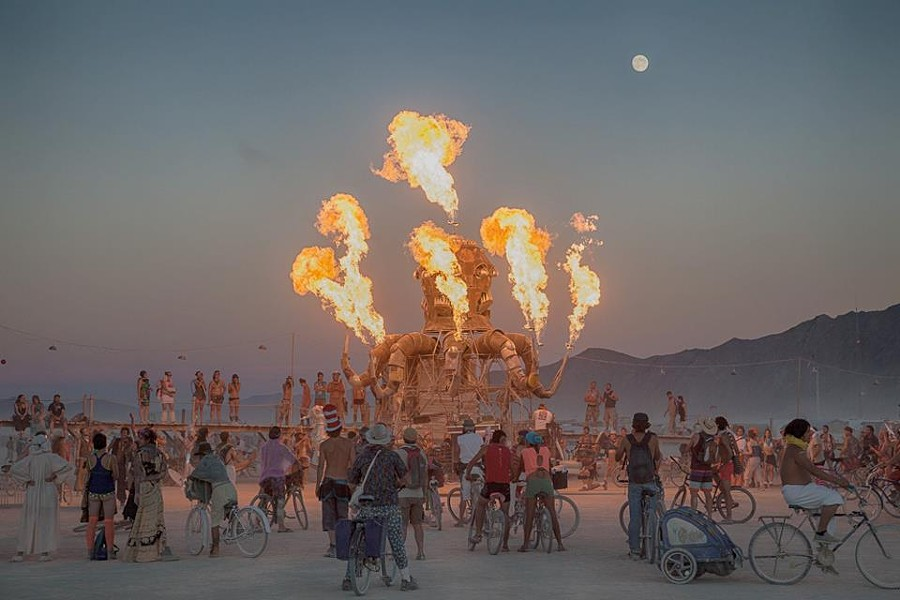 Burning it up at Burning Man 2012. - COURTESY OF DUANE FLATMO.