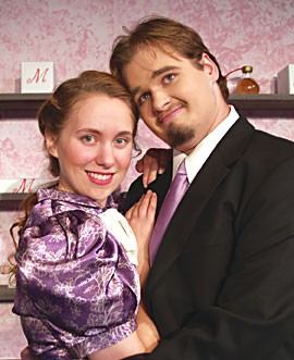 Caitlin McMurtry as Amalia, Rigel Schmitt as Georg in the NCRT production of 'She Love Me.' Photo courtesy North Coast Repertory Theatre.
