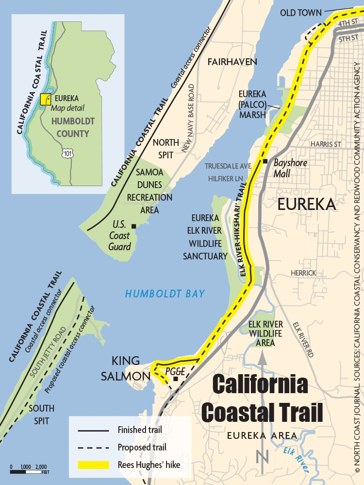 California Coastal Trail Map - © NORTH COAST JOURNAL, SOURCES: CALIFORNIA COASTAL CONSERVANCY AND REDWOOD COMUNITY ACTION AGENCY