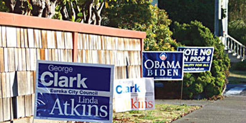 E Pluribus Eureka Campaign signs in Eureka. Photo by Ryan Burns.