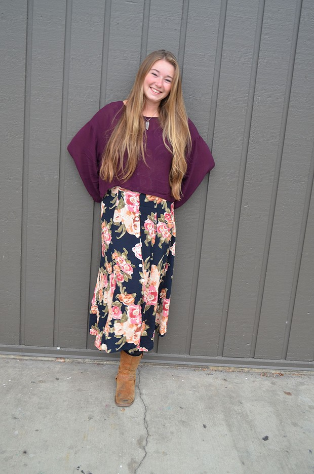 Cara Cannon, a senior from Chico who's studying child development, is wearing her mom's dress, a homemade necklace and a blouse from the thrift shop. - PHOTO BY SHARON RUCHTE