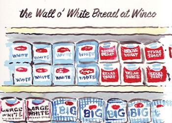 the Wall o' White Bread at Winco
