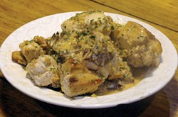 PHOTO BY DARIUS BROTMAN - Chicken braised with ginger — like a preview of spring.