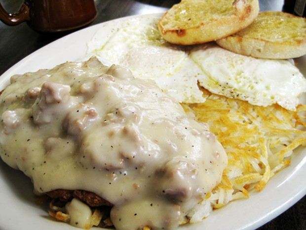 Chicken fried steak and eggs. You're not going to work after this. - JENNIFER FUMIKO CAHILL