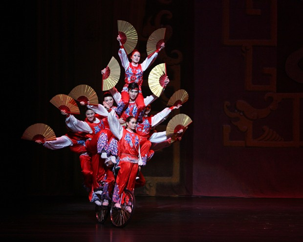 Chinese Golden Dragon Acrobats perform The Bicycle Pyramid