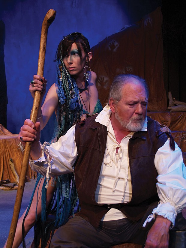 Chyna Leigh is Ariel and Scott Malcolm is Prospero in The Tempest. - PHOTO COURTESY OF NCRT
