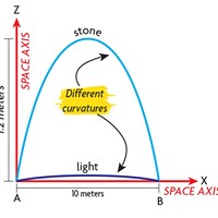 Close to the Earth's surface, the paths of a stone and ray of light appear to follow different degrees of curvature (Diagram 1).  In spacetime (Diagram 2), they are seen to follow the same degree of curvature.