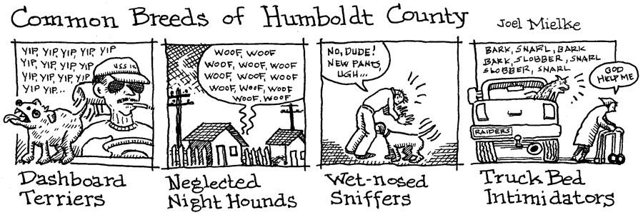 Common Breeds of Humboldt County, cartoon by Joel Mielke