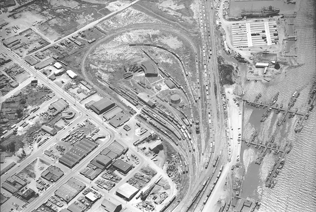 Could the former rail yard and would-be Marina Center Balloon Track become a designated homeless encampment? - MERLE SHUSTER, COURTESY OF HUMBOLDT UNIVERSITY, SHUSTER AERIAL PHOTOGRAPH COLLECTIONL