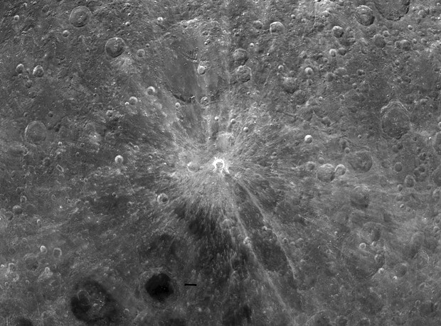 Crater Giordano Bruno lies at the center of pristine rays of ejecta up to 100 miles long. - COURTESY OF NASA