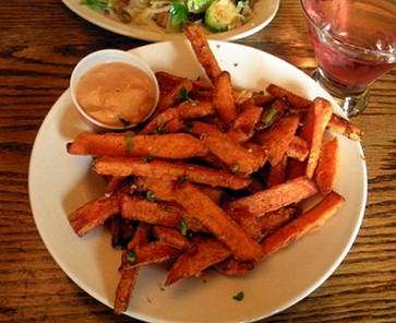 Crusty sweet potato fries at Plaza Grill. - JENNIFER FUMIKO CAHILL
