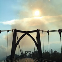 Humboldt Outside Dance Fire smoke, Klamath River bridge, Orleans. Photo by Ken Malcomson