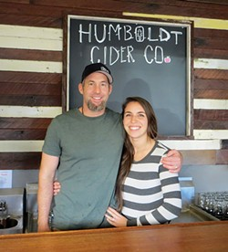 PHOTO BY AMY BARNES - Darren and Michelle Cartledge of Humboldt Cider Company brace for the Grand Opening.