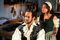 PHOTO COURTESY OF REDWOOD CURTAIN THEATRE. - David Hamilton and Ambar Cuevas in Equivocation.