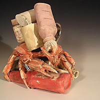 Pollution as Art Decorator Crab, 2007, low fire white clay. Photo courtesy of Jimmie Nord