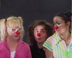 Dell'Arte clowns Lee Ann Hittenberger, Sonja Lynn Mata and Carina Skrande_