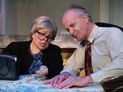 PHOTO COURTESY OF NRCTHESSE FIT - Denise Ryles and Arnold Waddell battle modern packaging in the comedy The Tale of the Allergist's Wife.