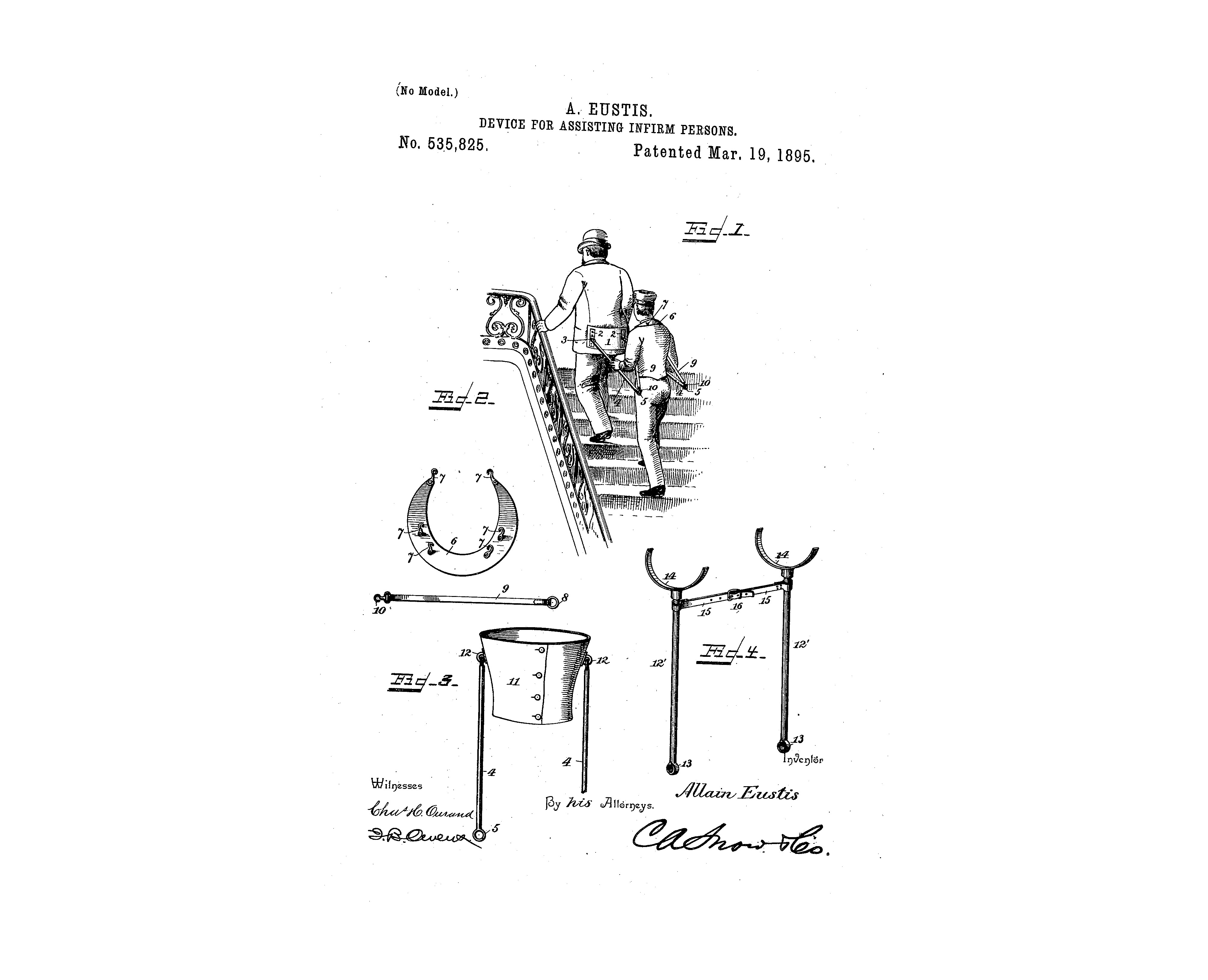 Device for assisting infirm persons, patent no. 535, 825, 1895.