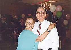 Dian Byrd with her older brother, Allen Nall, at her 80th birthday party. Photo by Rudy Byrd.
