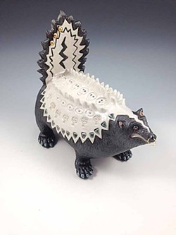 "Diane Sonderegger's pierced and pudgy ""Punk Skunk"" strikes a fierce pose at Arcata Artisans."
