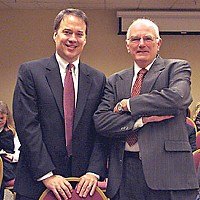 Backstage Pass Dimmick Ranch lead counsel Jeffrey Knowles and Mateel lawyer Bill Bragg on break in the Red Lion hearing room. Photo by Felix Omai.