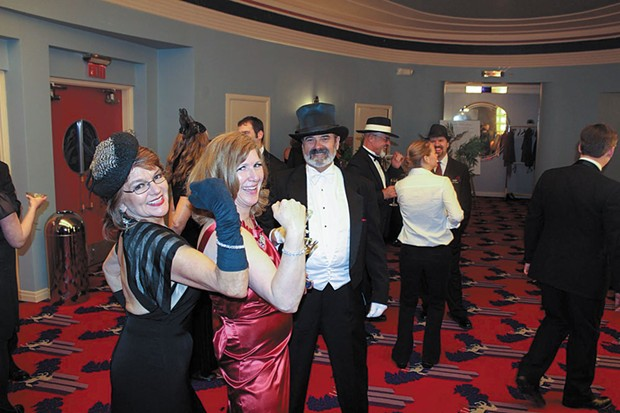 Donna Landry, Wendy Petty and Mark McCulloch at       the Eureka Theater, adecomovie palace that celebrated its 75th anniversary March 1 and 2. - PHOTO BY BOB DORAN