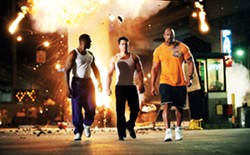 """Dude, tough guys don't look at the explosion."" Wahlberg and Johnson in Pain & Gain."