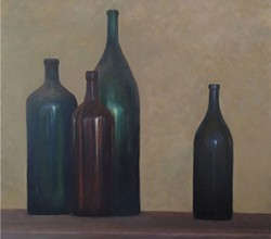 """Dusty Magnums"" by Angela Hansen hangs, fittingly, at Bergeron Winery."