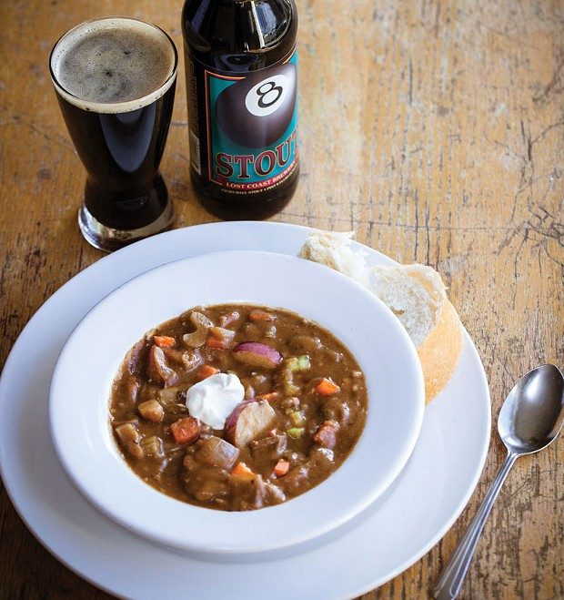Eight-Ball Stout beef stew from Lost Coast Brewery.