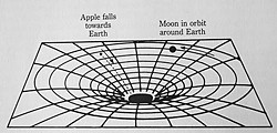 "Einstein's picture of space near the Earth, neither the apple nor the moon are ""aware"" of Earth's presence, all they ""know"" is the curvature of their local space."