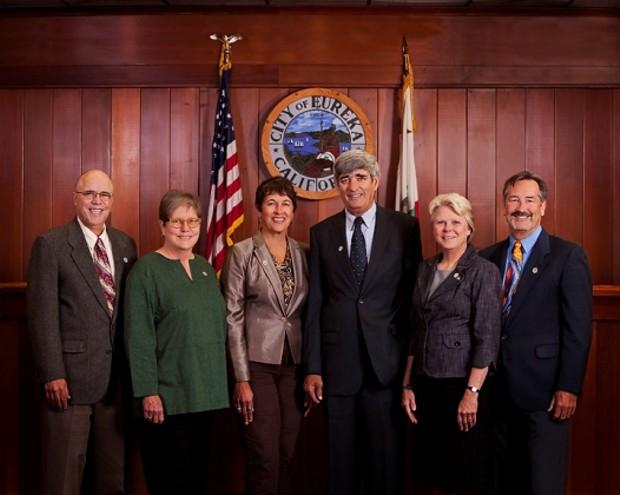 From left: Eureka Councilmembers Lance Madsen, Linda Atkins and Marian Brady, Mayor Frank Jager and Councilmembers Melinda Ciarabellini and Mike Newman - CITY OF EUREKA