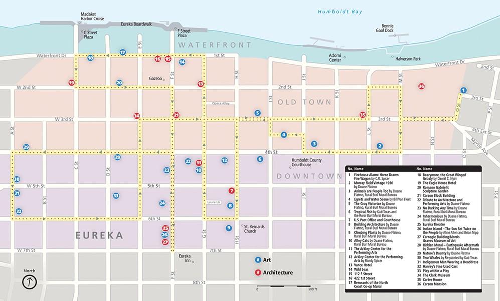 Eureka Mural Walk Map - © NORTH COAST JOURNAL   MILES EGGLESTON