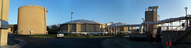 Eureka sewage treatment plant and water tower. Photo by Heidi Walters