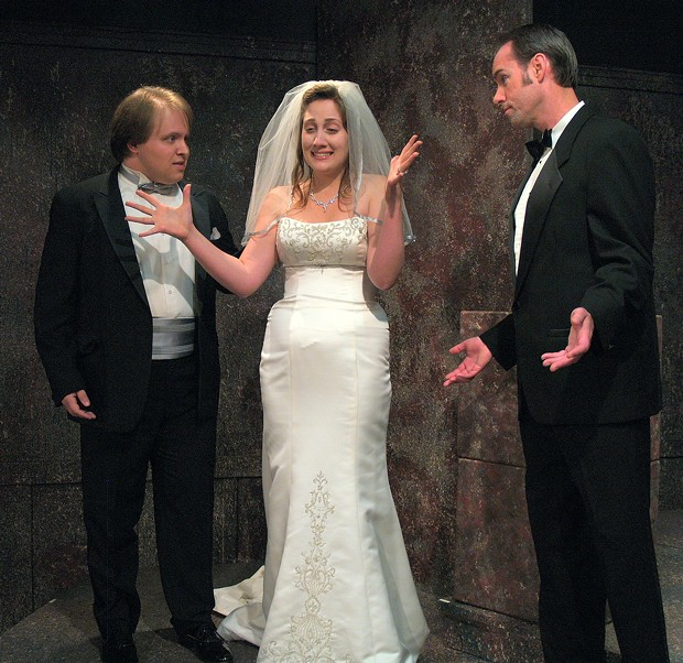 Evan Needham as Paul, Christina Comer as Amy, Kevin Sharkey as Robert in Company - COURTESY OF NCRT