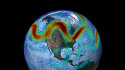 NASA'S GODDARD SPACE FLIGHT CENTER - Extreme kinkiness of jet stream (fast winds red, slow blue).