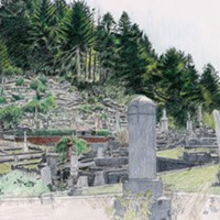 Jack Mays Artwork Ferndale Cemetery Tombstones Colored pencil drawing by Jack Mays, image courtesy of Carrie Grant