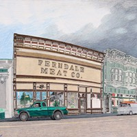 Jack Mays Artwork Ferndale Meat Co. Colored pencil drawing by Jack Mays, image courtesy of Carrie Grant