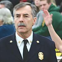 Stumped Fire Chief Glenn Ziemer. Photo by Bob Doran.